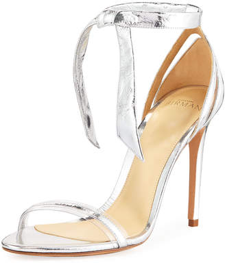 Alexandre Birman Clarita Metallic Leather Ankle-Tie Sandal