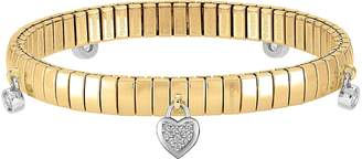 Nomination Yellow Gold PVD Stainless Steel Women's Bracelet w/Heart Charms and Cubic Zirconia