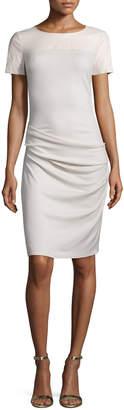 Halston Short-Sleeve Ruched Sheath Dress, Windchime