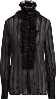 fb86383a883caa at Ralph Lauren · Ralph Lauren Ruffled Striped Silk Blouse