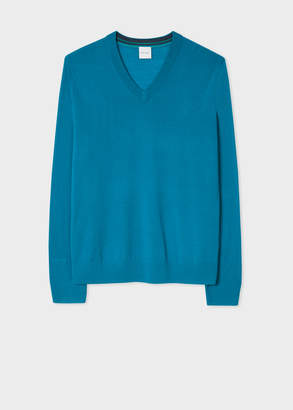 Paul Smith Men's Emerald V-Neck Merino Wool Sweater