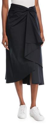 A.L.C. Diller Twist-Front A-Line Poplin Skirt