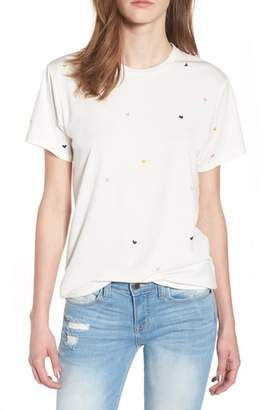 CURRENTLY IN LOVE Embroidered Heart Tee