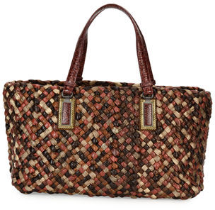 Bottega Veneta Lido Snakeskin & Lizard Tote Bag with Pouch, Red $17,800 thestylecure.com