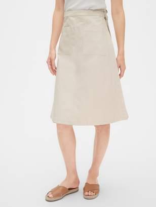 Gap Patch Pocket Wrap Skirt in Cotton-Linen
