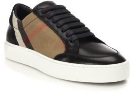 Burberry Salmond House Check & Leather Sneakers