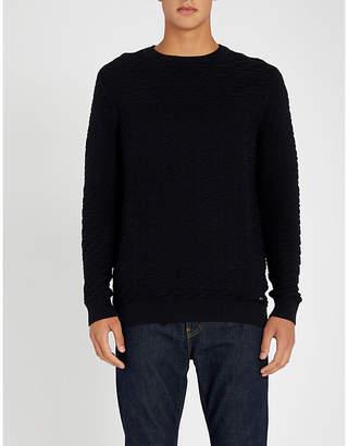 HUGO Textured-knit cotton jumper