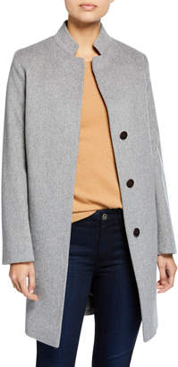 Inverted-Collar Wool Coat