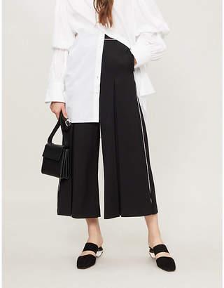 Stella McCartney Contrast-piped wide-leg wool culottes