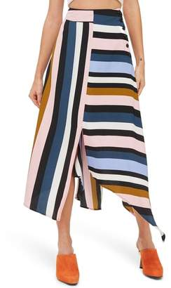 Topshop Multi Stripe Asymmetric Midi Skirt