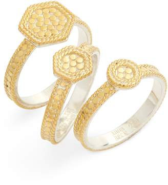 Anna Beck Gold Plate Geometric Set of 3 Stacking Rings