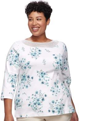 Croft & Barrow Plus Size Crochet Trim Boatneck Top