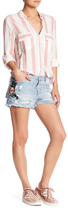 Fire Distressed Stud Embroidered Patch Denim Short $52 thestylecure.com