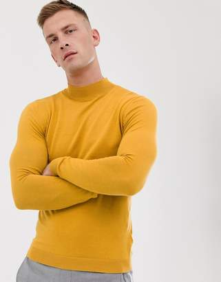 Asos Design DESIGN cotton turtle neck jumper in mustard
