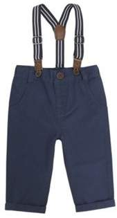 F&F Twill Chinos With Striped Braces 6-9 months