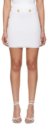 Balmain White Knit Miniskirt