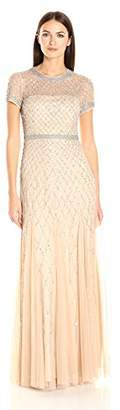 Adrianna Papell Women's Short-Sleeve Beaded Mesh Gown