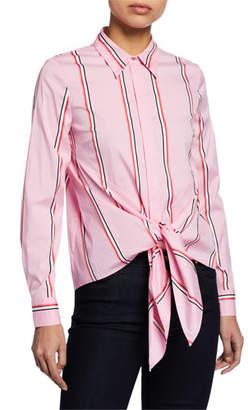 Elie Tahari Katarina Striped Button-Down Tie-Hem Shirt