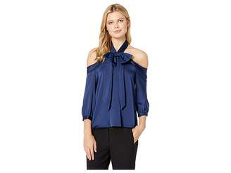 CeCe Drop Shoulder Halter 3/4 Sleeve Blouse w/ Bow