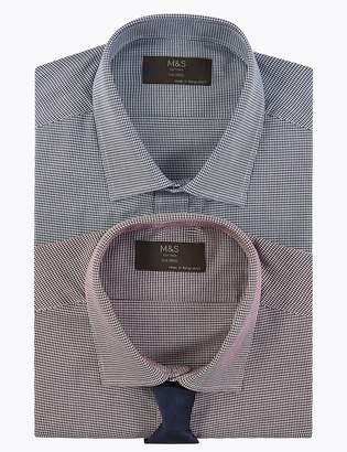 M&S CollectionMarks and Spencer 2 Pack Cotton Blend Tailored Shirts with Tie