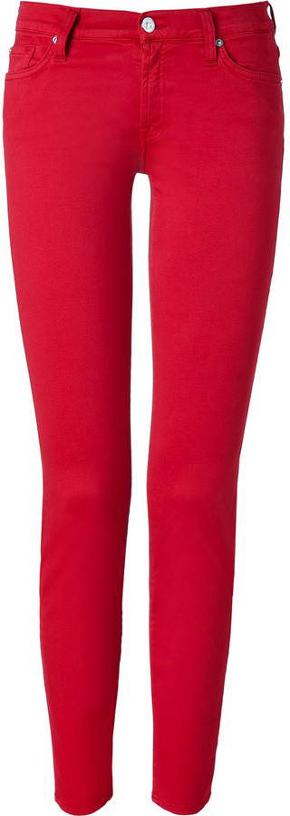 7 For All Mankind Seven The Skinny Tango Red Jeans