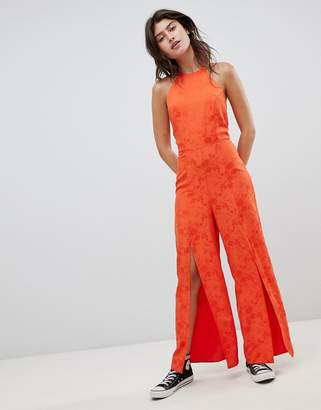 Nobody's Child High Neck Cami Jumpsuit With Split Legs In Jacquard