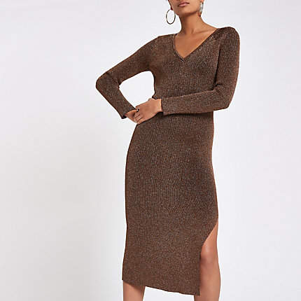 Womens Brown V neck knitted dress