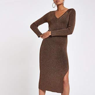 River Island Bronze V neck knitted dress