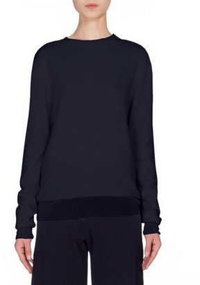 Victoria Beckham Cashmere Crewneck Sweater W/Silk Trim, Navy $1,150 thestylecure.com