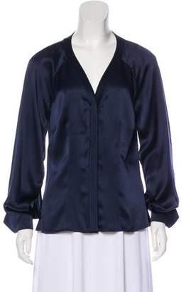 Zac Posen Sheer Long Sleeve Button-Up Top