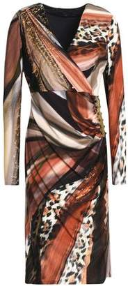 Roberto Cavalli Barbell-Embellished Ruched Printed Jersey Mini Dress