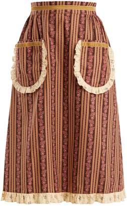 BATSHEVA Frill-trimmed floral-print cotton skirt