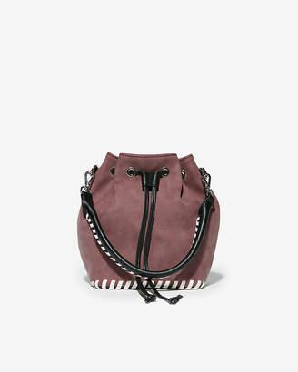Express Faux Nubuck Whipstitch Bucket Bag