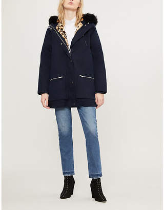 Claudie Pierlot Faux fur-trimmed cotton parka coat