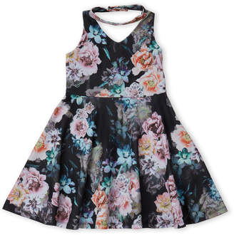 Pippa & Julie (Girls 7-16) Floral Choker Fit & Flare Dress