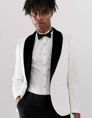 Twisted Tailor blazer in white velvet with wide lapel