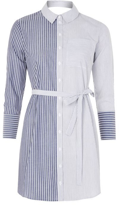 Topshop Topshop Stripe wrap back shirtdress