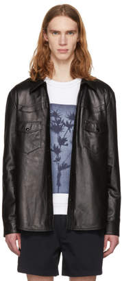 Acne Studios Black Leather Locran Shirt Jacket
