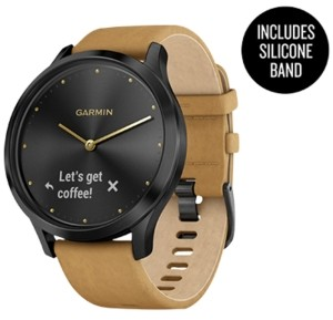 Garmin Unisex vivomove Hr Premium Tan Suede & Silicone Strap Hybrid Touchscreen Smart Watch 43mm