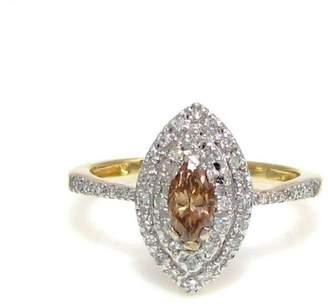 14k Yellow Gold Champagne & White Diamond Ring Size 7