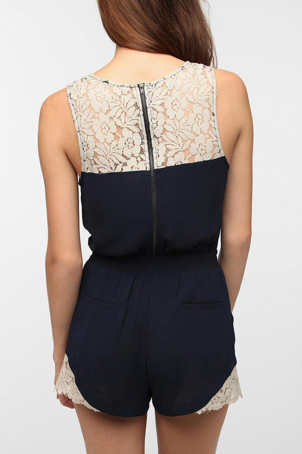 Urban Outfitters Pins And Needles Crepe Lace Inset Romper