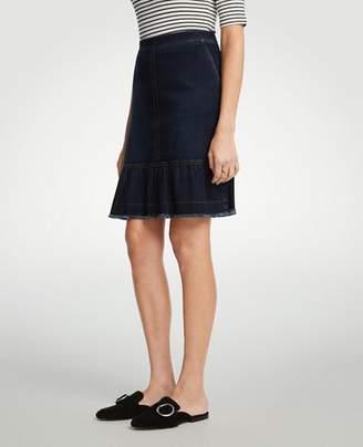 Ann Taylor Petite Ruffle Denim Skirt