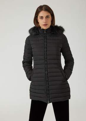 Emporio Armani Padded Jacket With Hood And Studded Zip