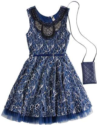 Beautees Girls 7-16 Embroidered Neckline Sleeveless Skater Dress with Purse