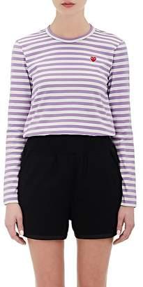 Comme des Garcons Women's Heart Striped Cotton T-Shirt - Stripe