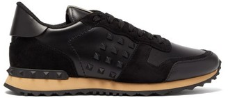 Valentino Rockrunner Suede And Leather Trainers - Mens - Black Multi