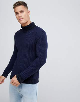 Selected knitted roll neck sweater in mixed blue knit