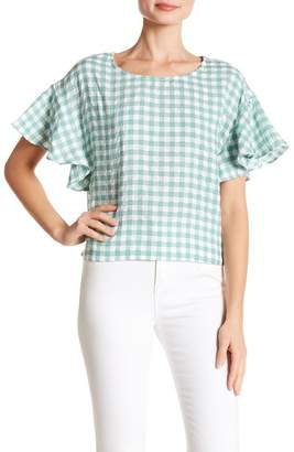 MinkPink Gingham Flutter Sleeve Top