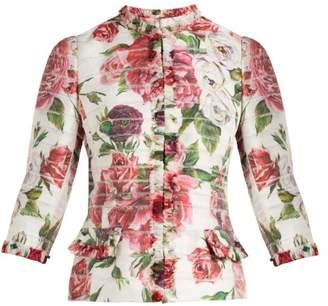Dolce & Gabbana Peony And Rose Print Satin Jacket - Womens - White Multi