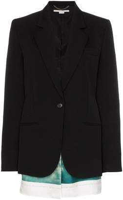 Stella McCartney Slashed wool blazer with printed cotton-blend scarf panels